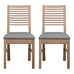 Debenhams - Pair of white-washed oak 'Nord' dining chairs with light grey fabric seats