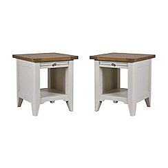 Debenhams - Oak and painted 'Wadebridge' pair of side tables