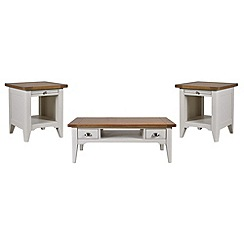 Debenhams - Oak and painted 'Wadebridge' coffee and 2 side tables set