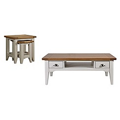 Debenhams - Oak and painted 'Wadebridge' coffee and nest of tables set