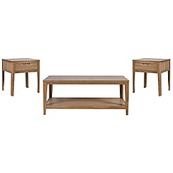 Debenhams - Oak 'Nord' coffee and 2 side tables set