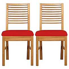 Debenhams - Pair of oak 'Nord' dining chairs with red fabric seats
