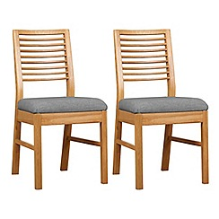 Debenhams - Pair of oak 'Nord' dining chairs with grey fabric seats