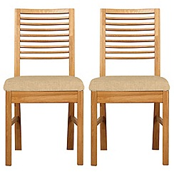 Debenhams - Pair of oak 'Nord' dining chairs with ivory fabric seats