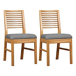 Debenhams - Pair of oak 'Nord' dining chairs with light grey fabric seats
