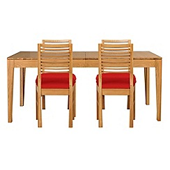 Debenhams - Oak 'Nord' extending table and 4 chairs with red fabric seats