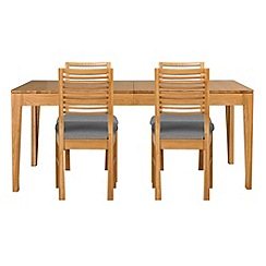 Debenhams - Oak 'Nord' extending table and 4 chairs with grey fabric seats