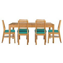 Debenhams - Oak 'Nord' extending table and 6 chairs with blue fabric seats