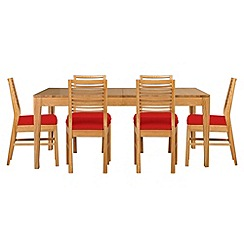 Debenhams - Oak 'Nord' extending table and 6 chairs with red fabric seats
