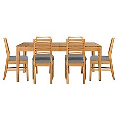 Debenhams - Oak 'Nord' extending table and 6 chairs with grey fabric seats
