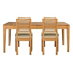 Debenhams - Oak 'Nord' extending table and 4 chairs with ivory fabric seats
