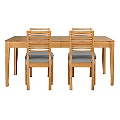 Debenhams - Oak 'Nord' extending table and 4 chairs with light grey fabric seats