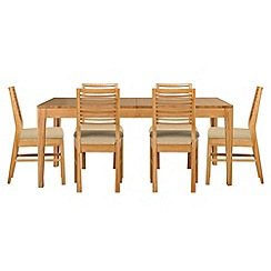 Debenhams - Oak 'Nord' extending table and 6 chairs with ivory fabric seats
