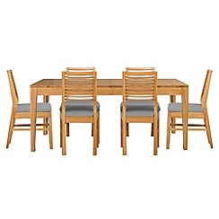 Debenhams - Oak 'Nord' extending table and 6 chairs with light grey fabric seats
