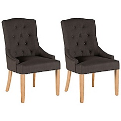 Willis & Gambier - Pair of charcoal grey 'Paris' button back upholstered carver dining chairs