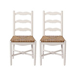 Debenhams - Pair of white 'Chantilly' dining chairs with wicker seats