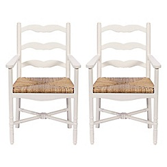Debenhams - Pair of white 'Chantilly' carver dining chairs with wicker seats