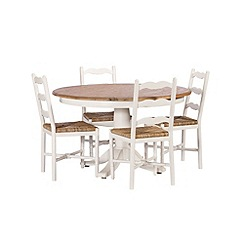 Debenhams - Poplar wood and painted 'Chantilly' round table and 4 chairs