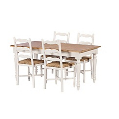 Debenhams - Poplar wood and painted 'Chantilly' extending table and 4 chairs
