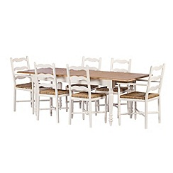 Debenhams - Poplar wood and painted 'Chantilly' extending table and 6 chairs