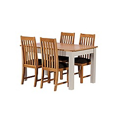 Debenhams - Oak and grey painted 'Chiswick' extending table and 4 chairs
