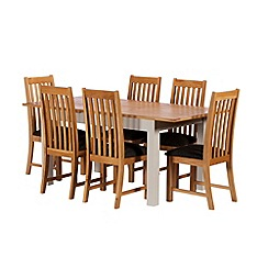 Debenhams - Oak and grey painted 'Chiswick' extending table and 6 chairs