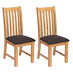 Debenhams - Pair of oak 'Chiswick' dining chairs with grey seat pads