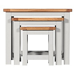 Debenhams - Oak and grey painted 'Chiswick' nest of 3 tables