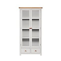 Debenhams - Oak and grey painted 'Chiswick' glazed display cabinet