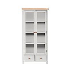 Debenhams - Oak and grey painted 'Chiswick' glazed display cabinet