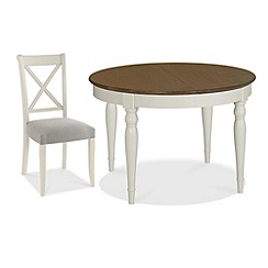 Debenhams - Walnut and painted 'Hampstead' small extending table and 4 cross-back chairs