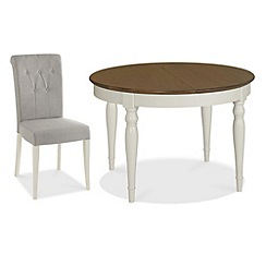 Debenhams - Walnut and painted 'Hampstead' small extending table and 4 grey chairs