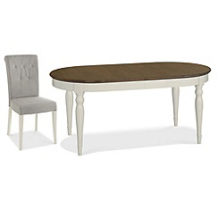 Debenhams - Walnut and painted 'Hampstead' large extending table and 6 grey chairs