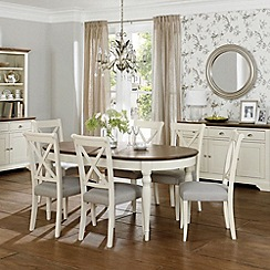 Debenhams - Walnut and painted 'Hampstead' large extending table and 8 bonded leather chairs