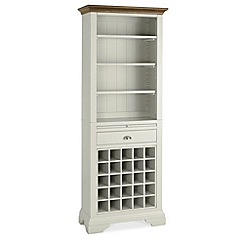 Debenhams - Walnut and painted 'Hampstead' display cabinet with wine rack