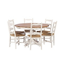 Debenhams - Poplar wood and painted 'Chantilly' round table and 6 chairs