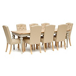 Willis & Gambier - White-washed oak and painted 'Worcester' extra-large extending table and 8 beige 'Stanza' chairs