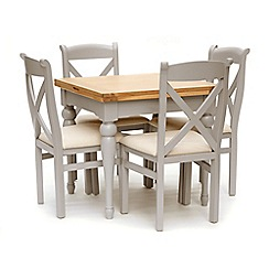 Willis & Gambier - White-washed oak and painted 'Worcester' flip-top table and 4 chairs