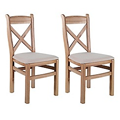 Willis & Gambier - Pair of oak 'Worcester' dining chairs with cream fabric seats