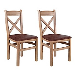 Willis & Gambier - Pair of oak 'Worcester' dining chairs with tan fabric seats