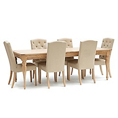 Willis & Gambier - Oak 'Worcester' extra-large extending table and 6 beige 'Stanza' chairs