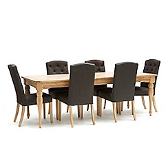 Willis & Gambier - Oak 'Worcester' extra-large extending table and 6 charcoal grey 'Stanza' chairs