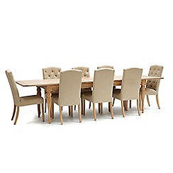 Willis & Gambier - Oak 'Worcester' extra-large extending table and 8 beige 'Stanza' chairs