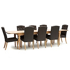 Willis & Gambier - Oak 'Worcester' extra-large extending table and 8 charcoal grey 'Stanza' chairs