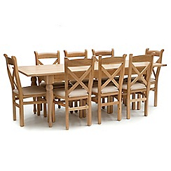 Willis & Gambier - Oak 'Worcester' extra-large extending table and 8 chairs
