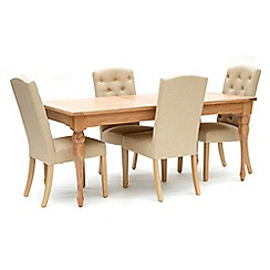 Willis & Gambier - Oak 'Worcester' large extending table and 4 beige 'Stanza' chairs