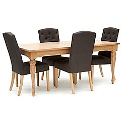 Willis & Gambier - Oak 'Worcester' large extending table and 4 charcoal grey 'Stanza' chairs