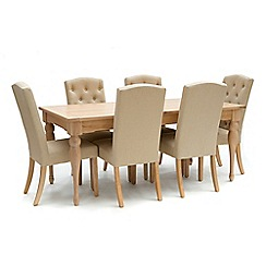 Willis & Gambier - Oak 'Worcester' large extending table and 6 beige 'Stanza' chairs