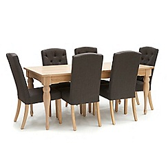 Willis & Gambier - Oak 'Worcester' large extending table and 6 charcoal grey 'Stanza' chairs
