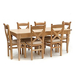 Willis & Gambier - Oak 'Worcester' large extending table and 6 chairs